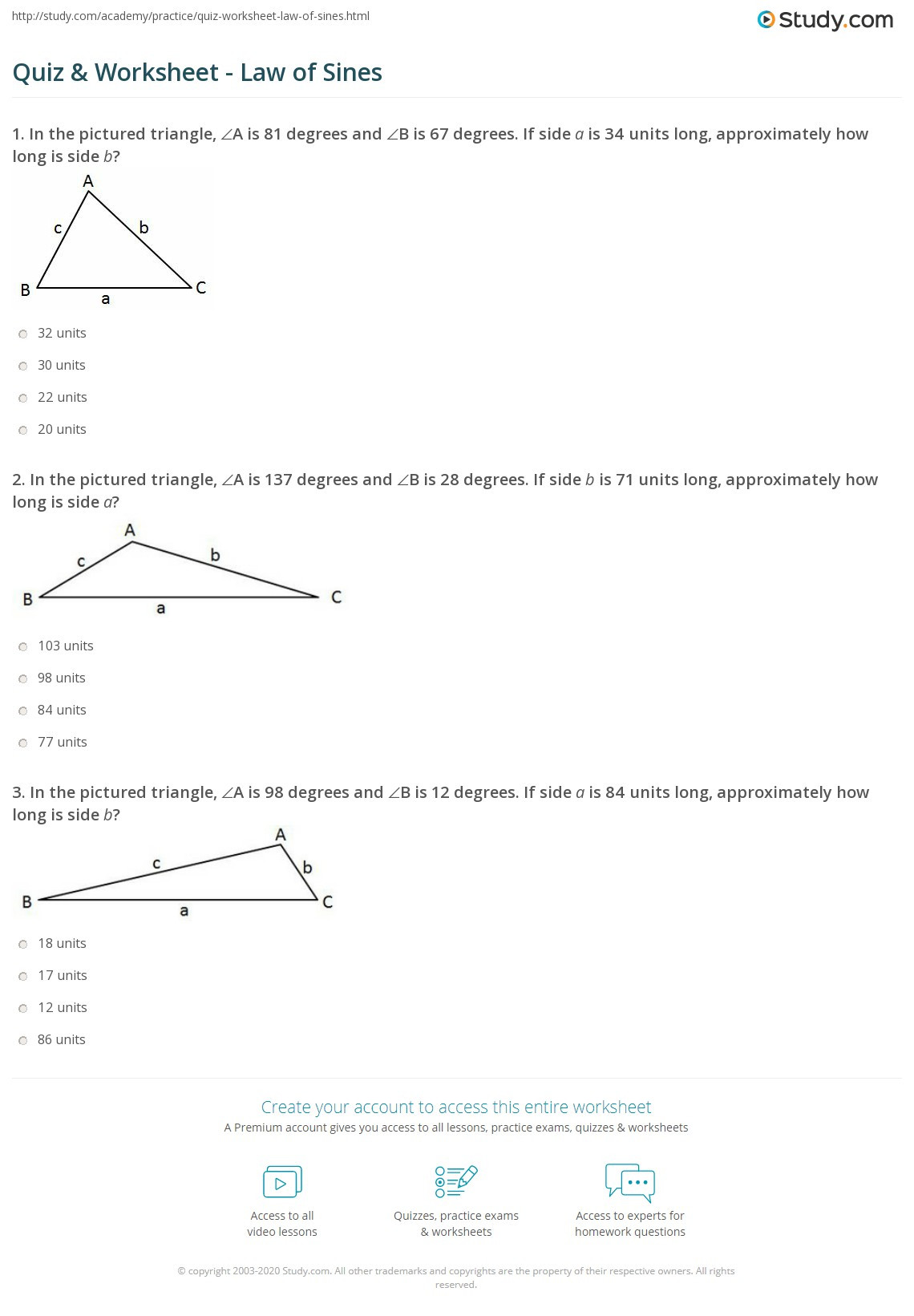 30 Law Of Sines Worksheet Answers
