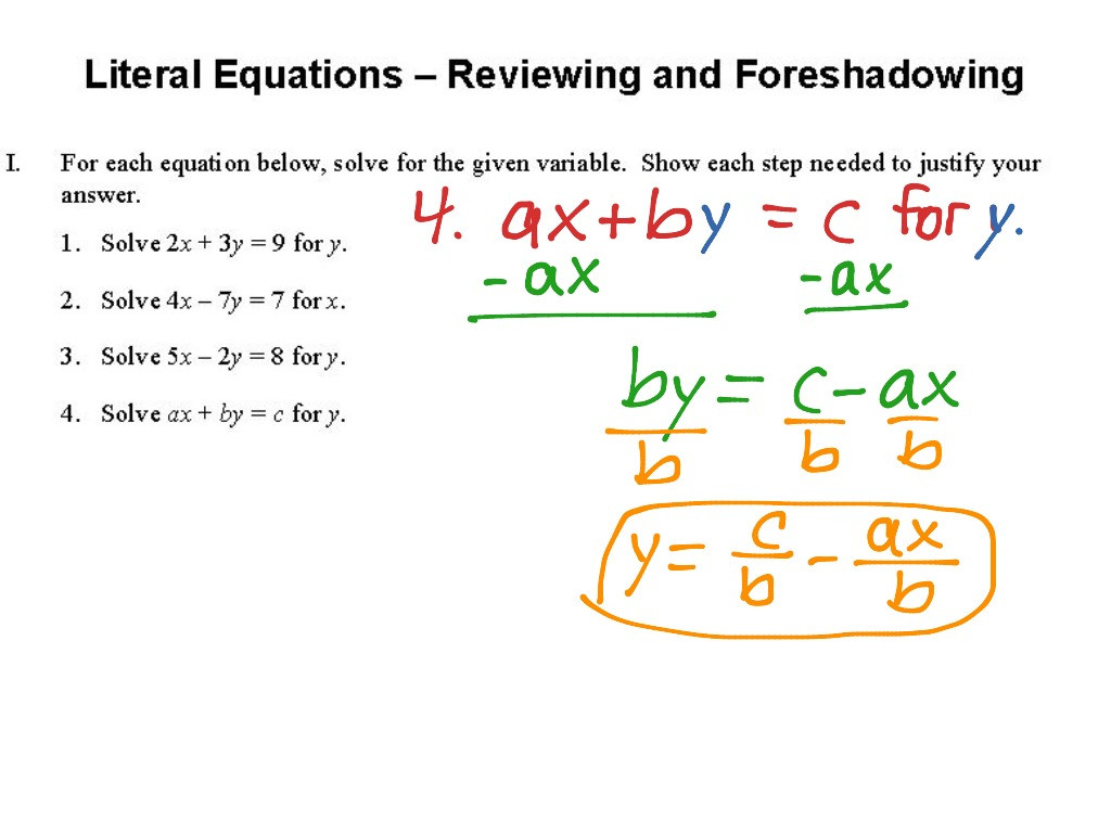 30 Literal Equations Worksheet Answers