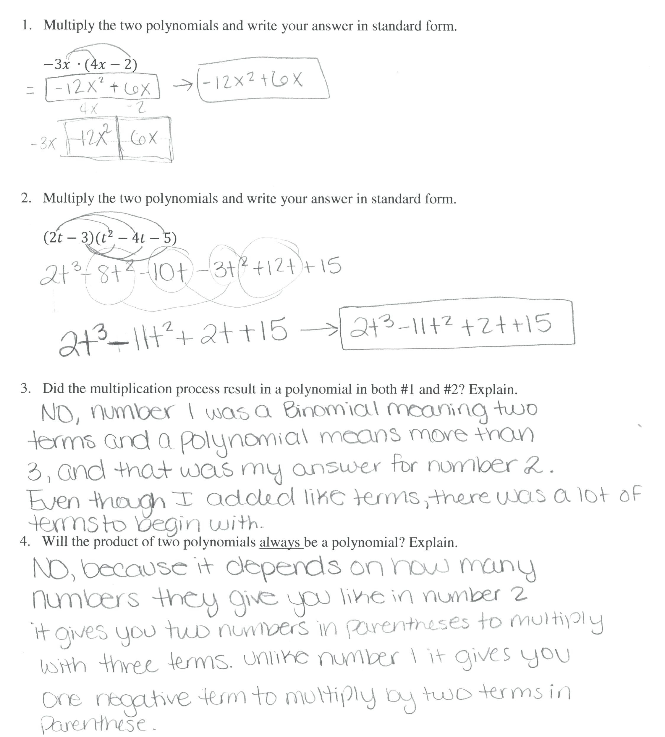 30 Multiplying Polynomials Worksheet Answers