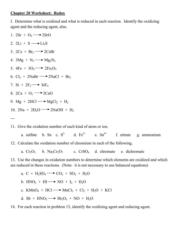 30 Oxidation Reduction Worksheet Answers