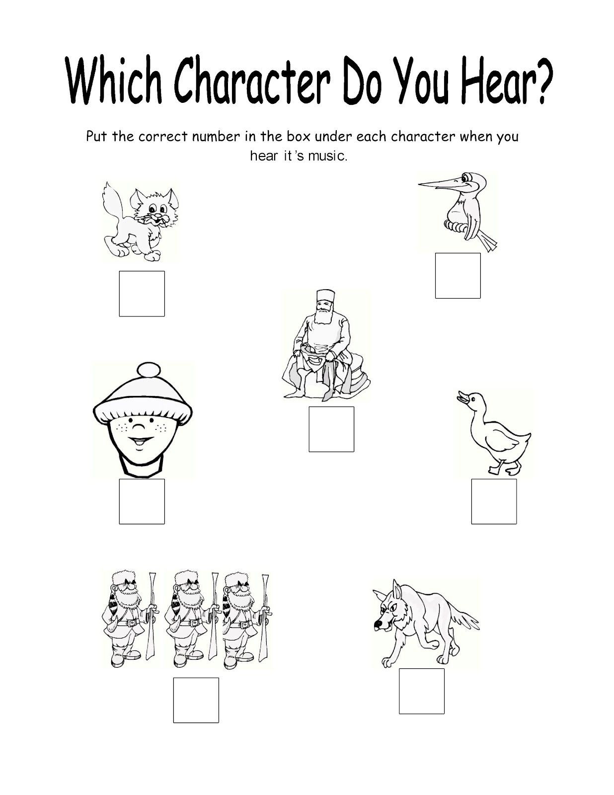 Peter And The Wolf Worksheet