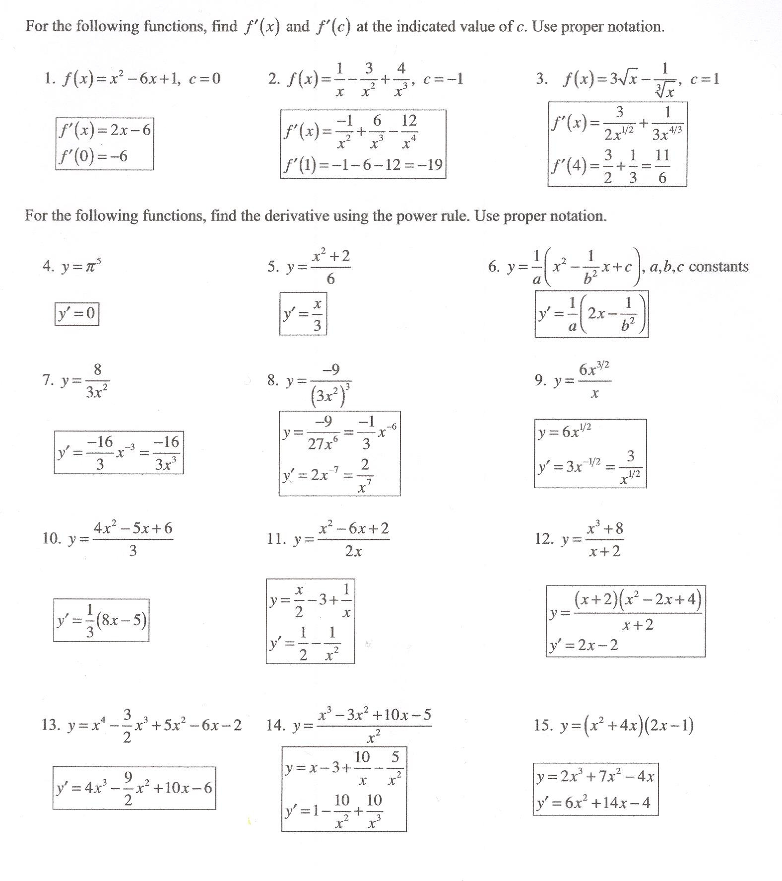 Product And Quotient Rule Worksheet Education Template