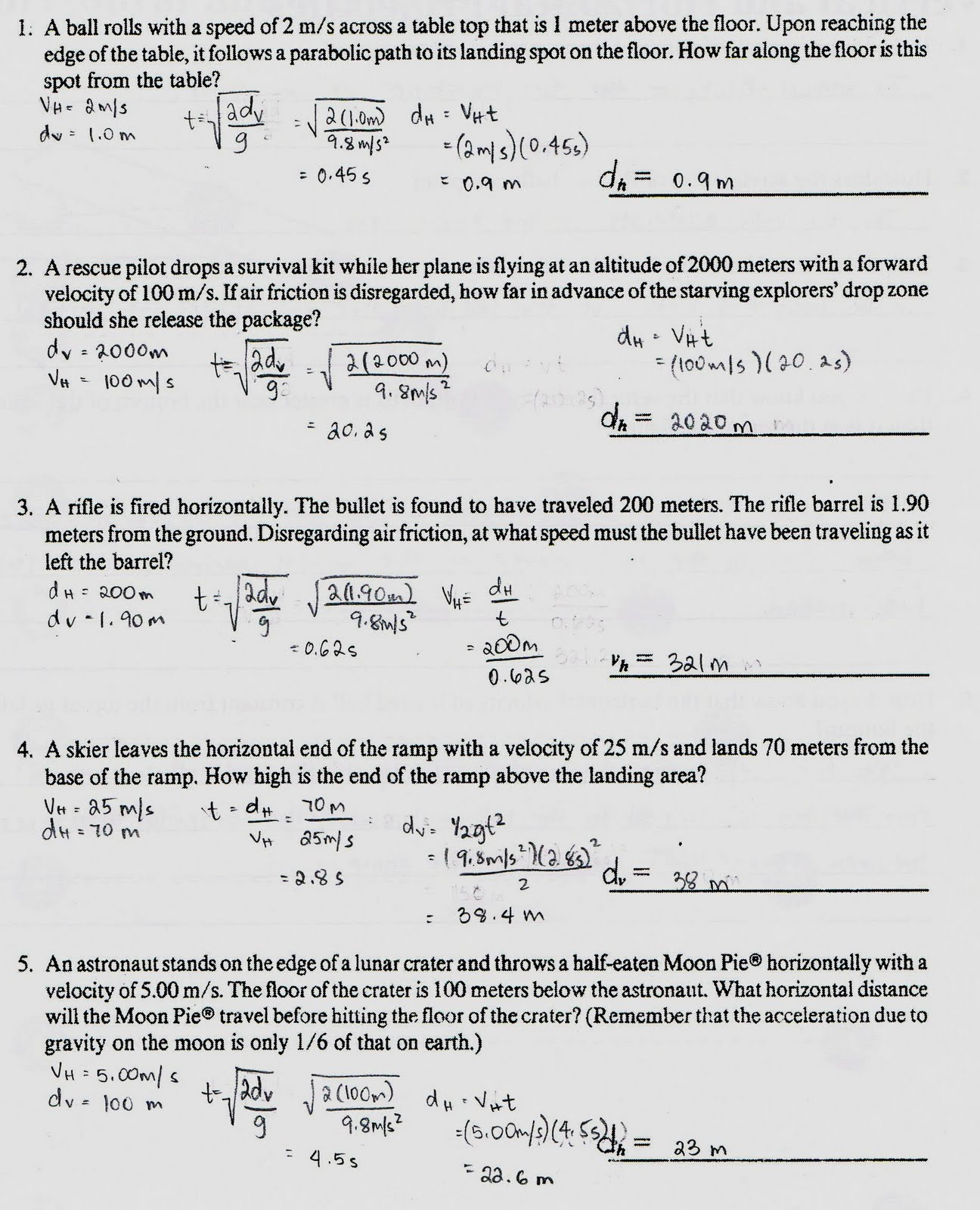 30 Projectile Motion Worksheet Answers