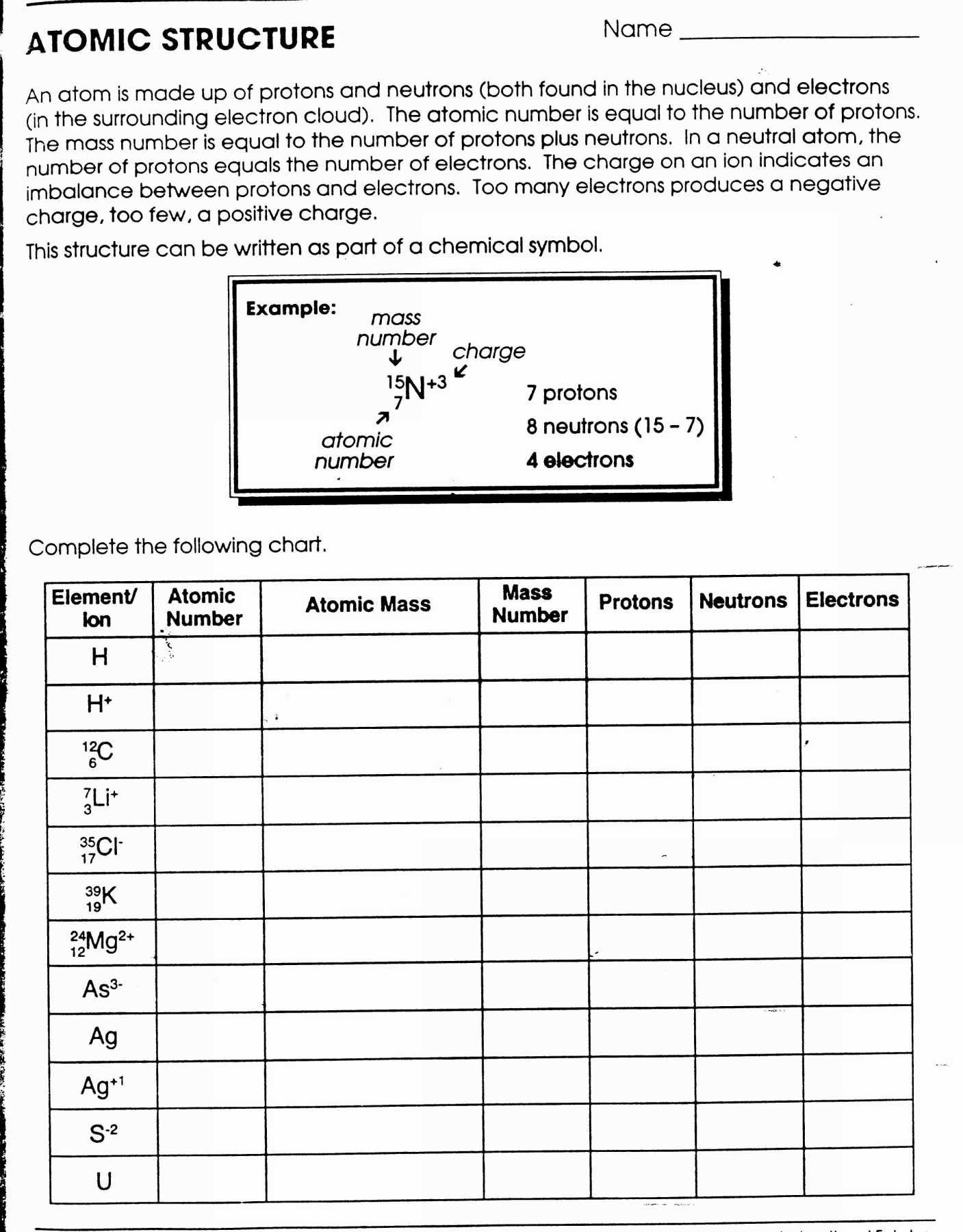 30 Protons Neutrons And Electrons Worksheet