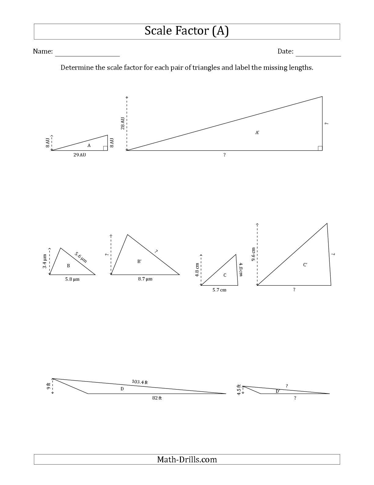 30 Scale Factor Worksheet 7th Grade