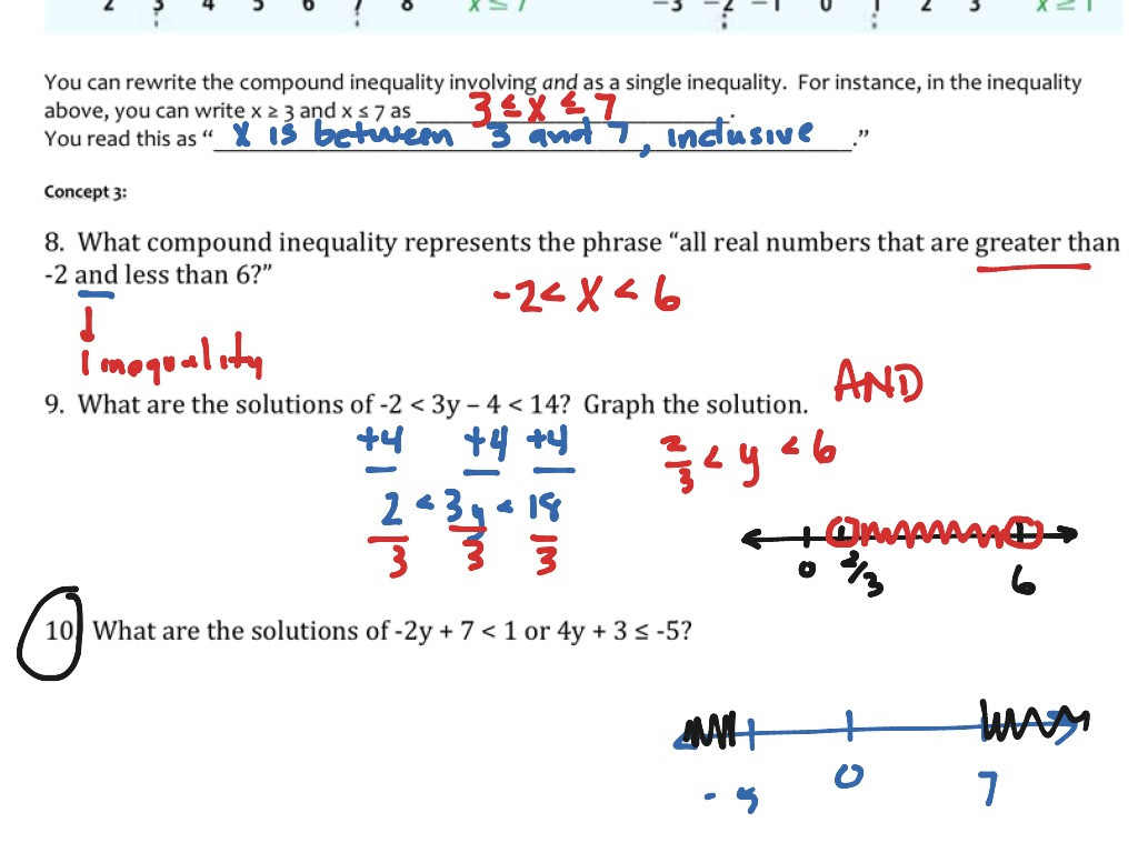 Solving Compound Inequalities Worksheet Education Template