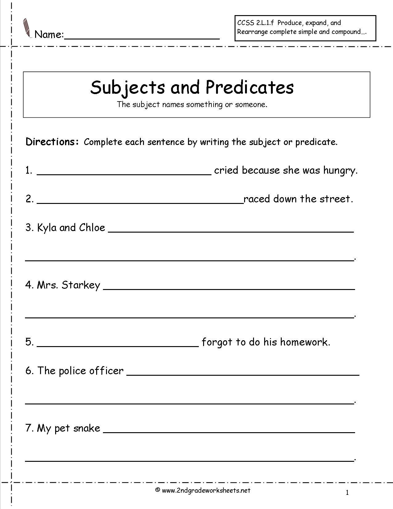 30 Subjects And Predicates Worksheet