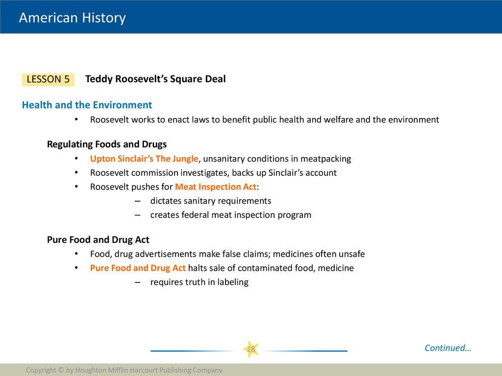 30 Teddy Roosevelt Square Deal Worksheet