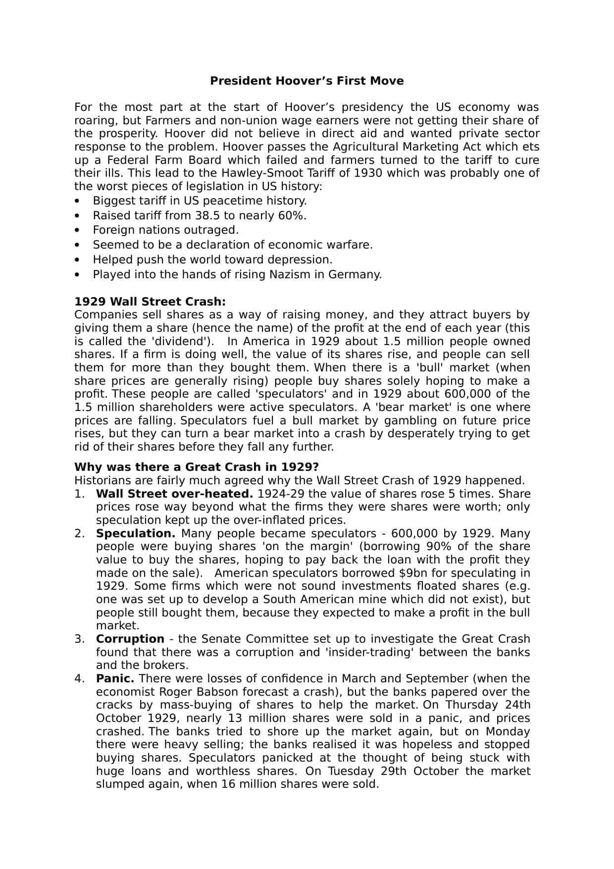 30 The Great Depression Worksheet