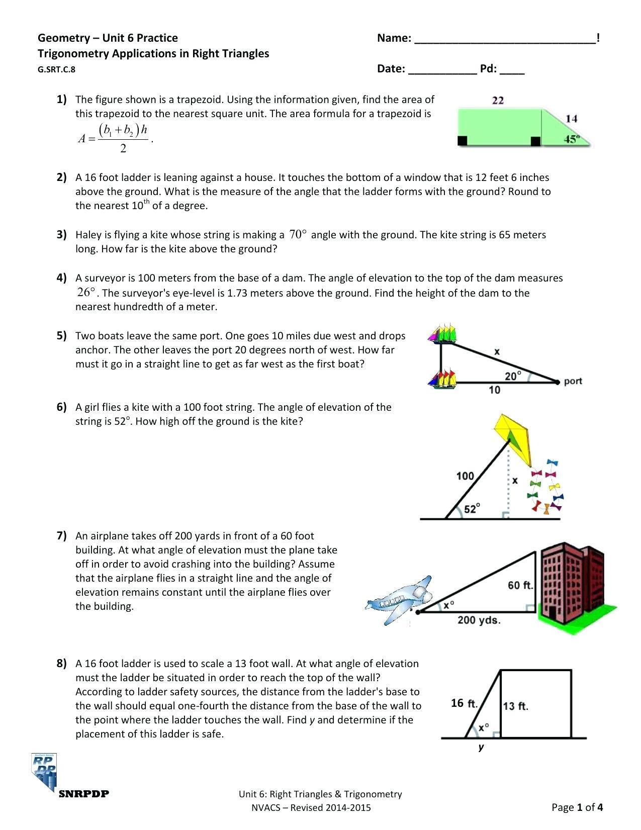 30 Trigonometry Word Problems Worksheet Answers