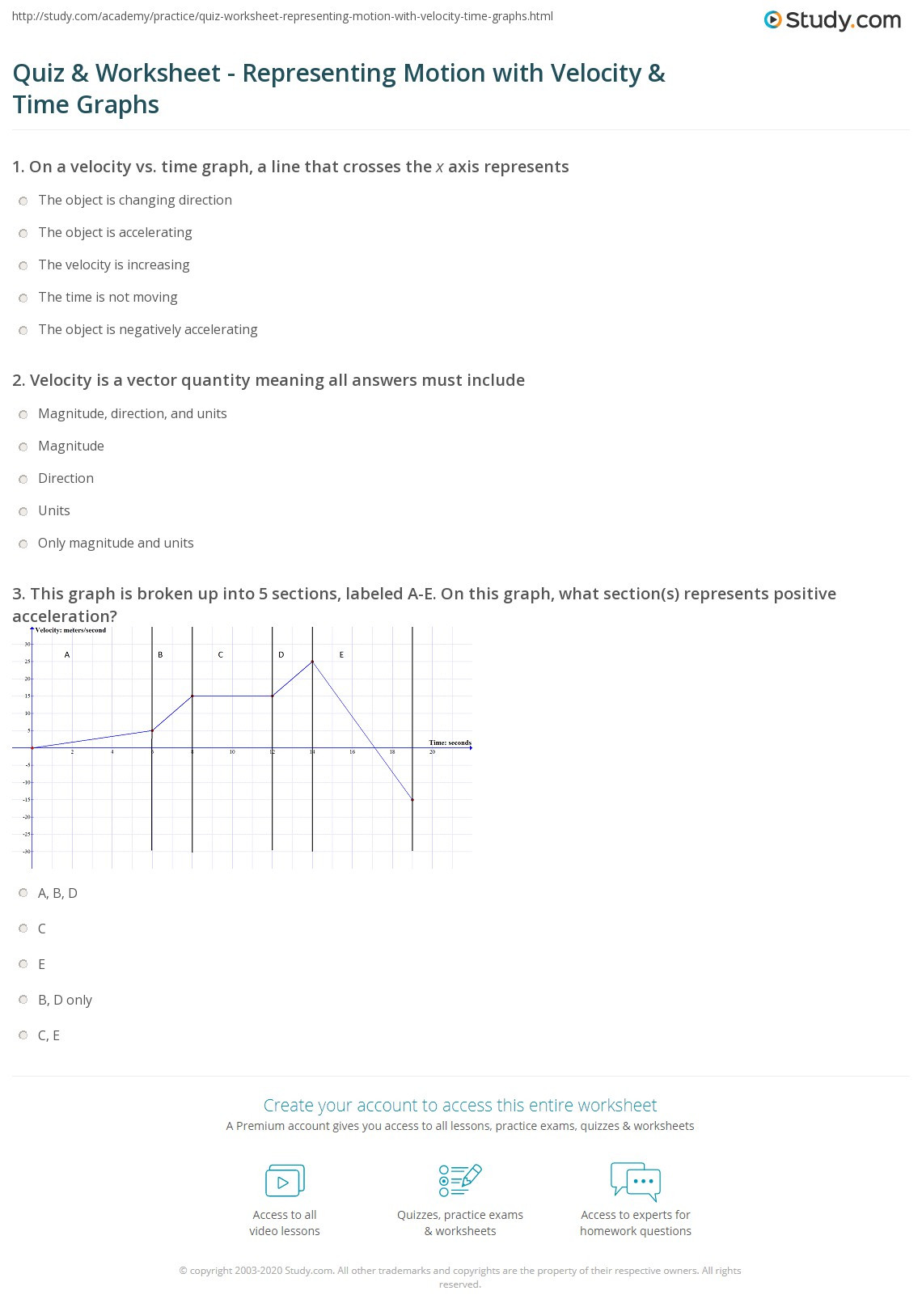 30 Velocity Time Graph Worksheet