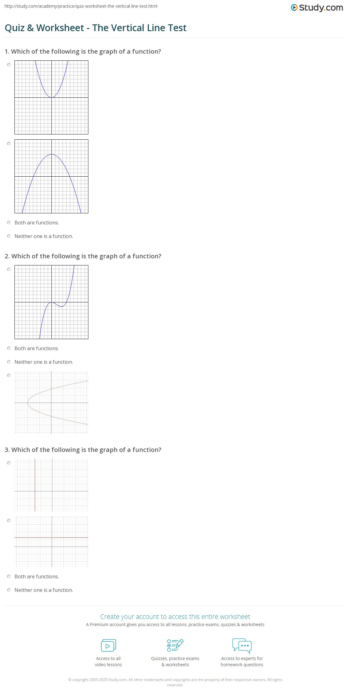 30 Vertical Line Test Worksheet