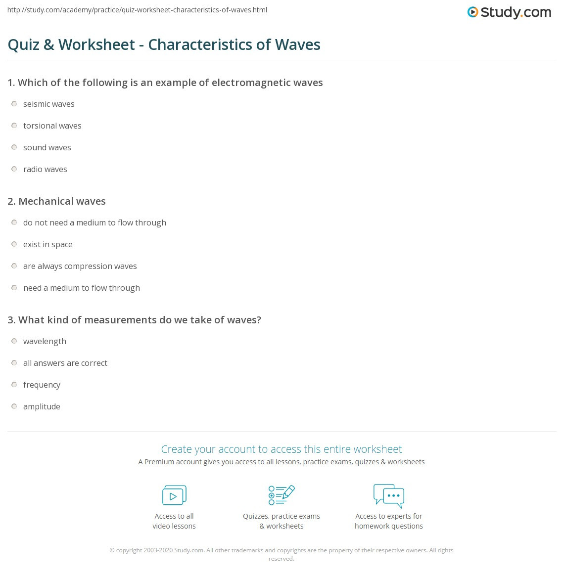 30 Waves Worksheet Answer Key