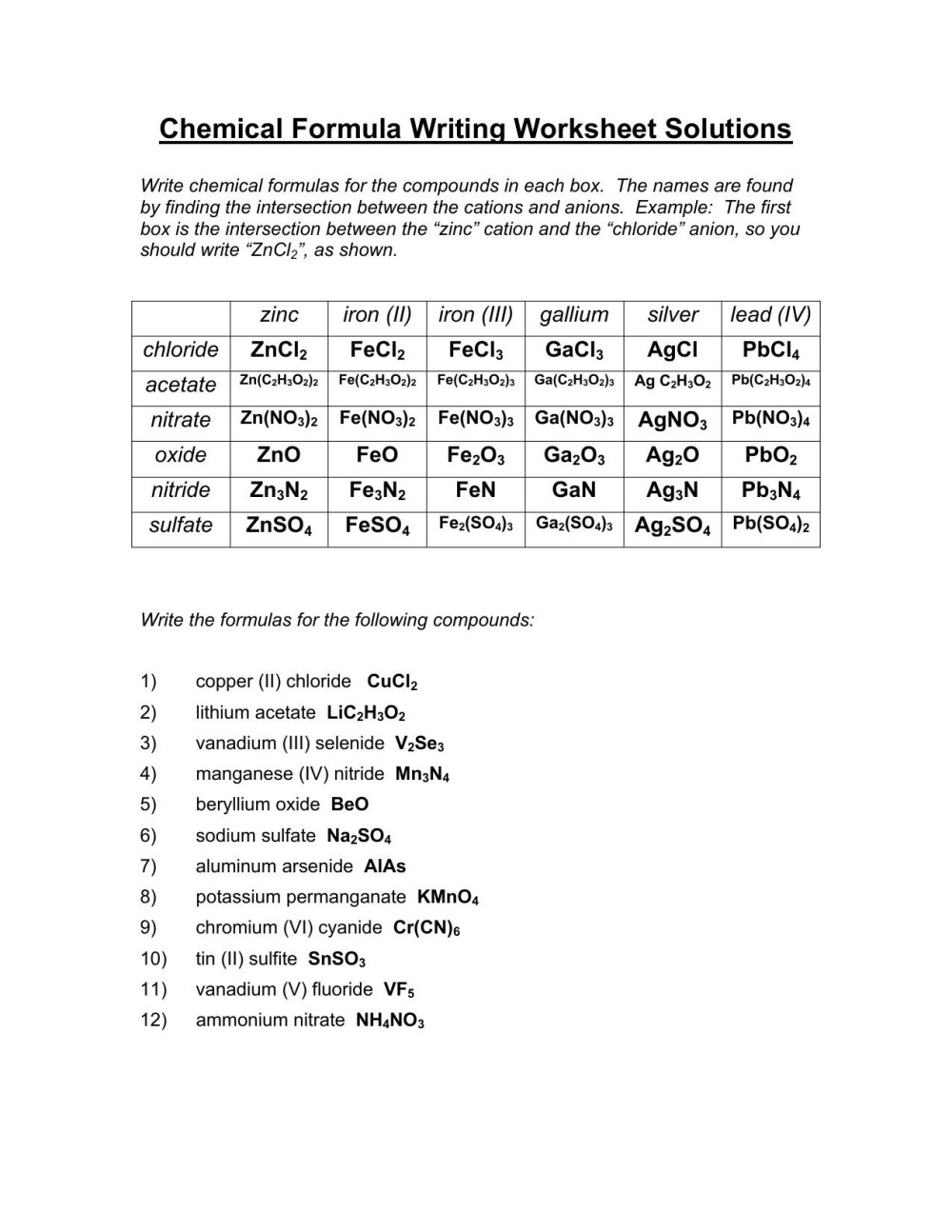 medium resolution of Criss Cross Chemical Formula Worksheet Answer   Printable Worksheets and  Activities for Teachers