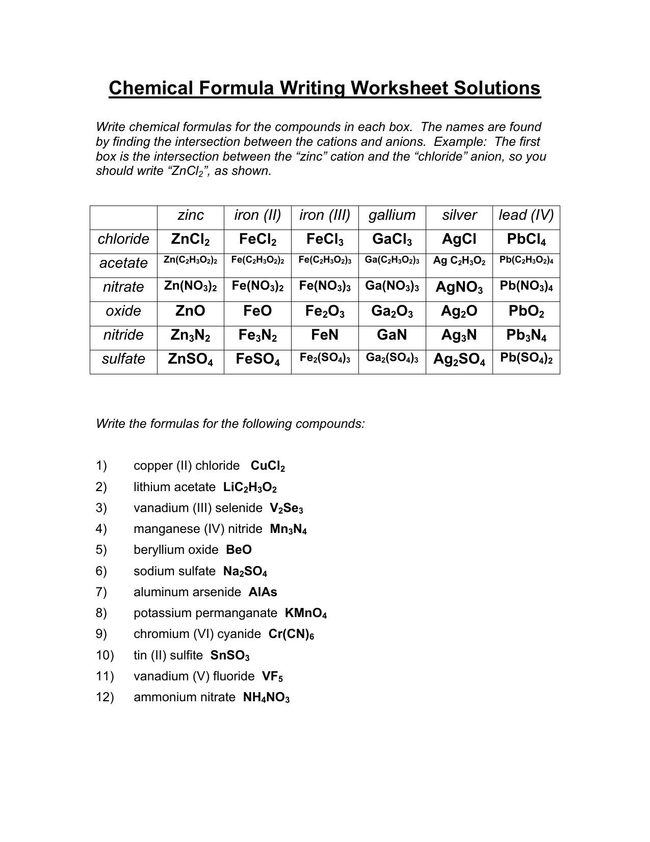 hight resolution of Criss Cross Chemical Formula Worksheet Answer   Printable Worksheets and  Activities for Teachers