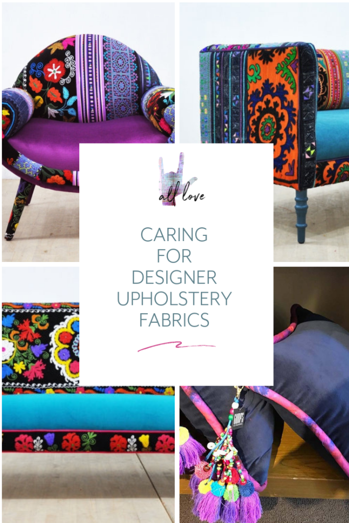Learn how to care for your newly-bought fabric by the yard, as well as designer upholstery fabrics, with these tips from All Love Blog.