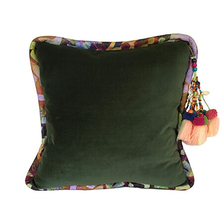 Forest Green Luxurious Velvet Pillow - K125
