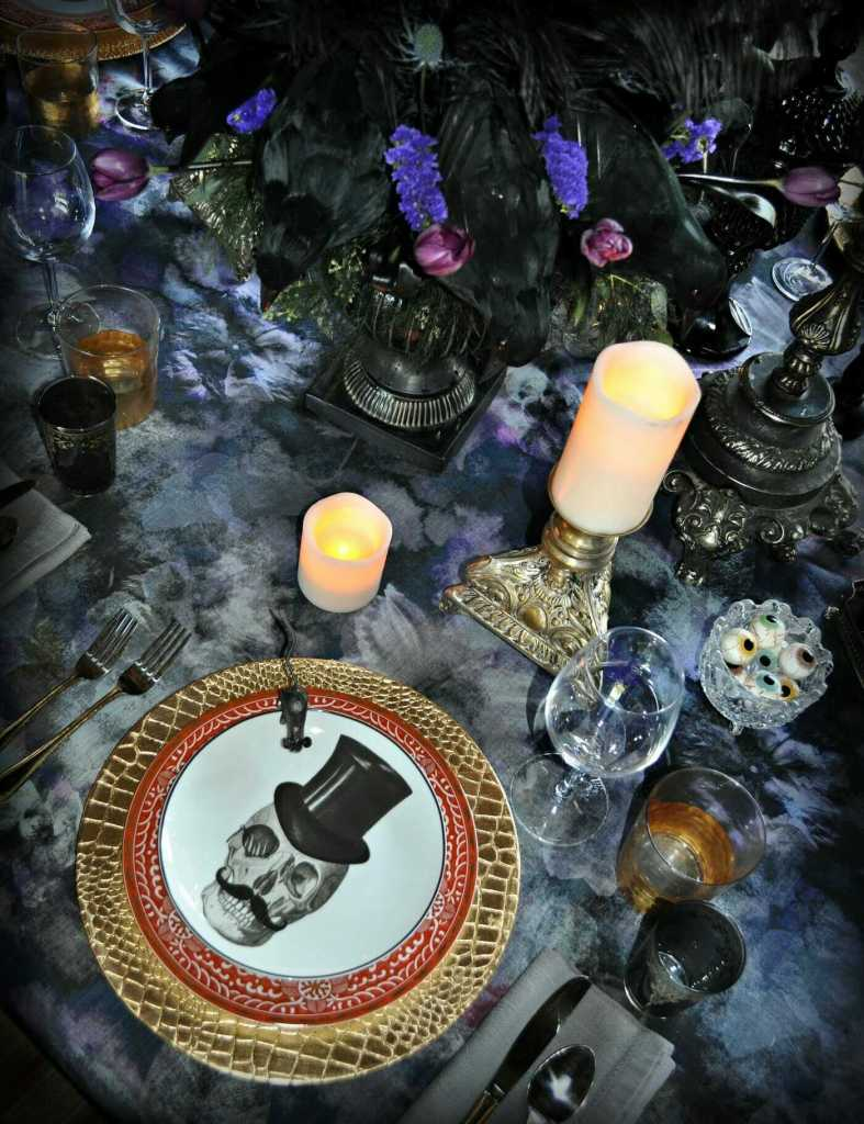 gothic dinner party dark tablescape halloween table
