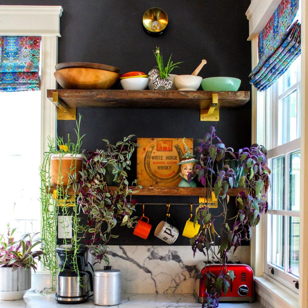 Friend of SmithHönig, eclectic interior designer, blogger and decorating expert Kate Pearce styles her home with a mix of unique vintage pieces and maxed out color and prints.