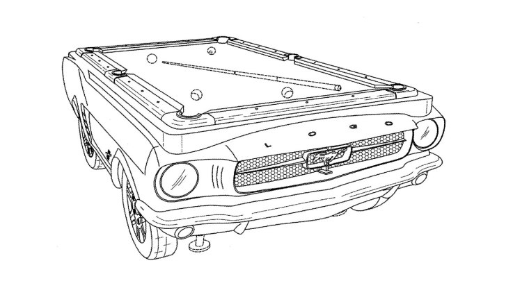 Design Patent D643900 for a car shaped pool table