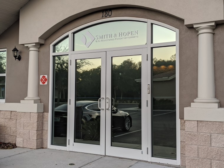 Smith & Hopen Intellectual Property Firm Front Entry Door