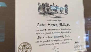 Florida Bar Board Certification for Intellectual Property for Anton Hopen
