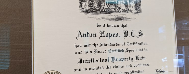 Florida Bar Board Certification for Intellectual Property for Anton Hopen
