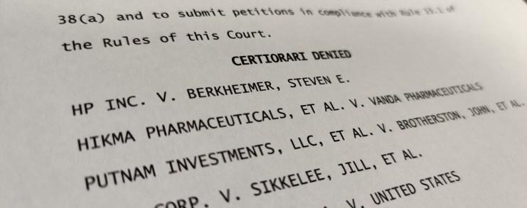Certiorari denied by Supreme Court for patent case