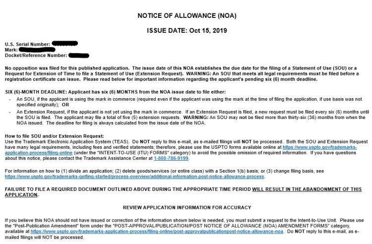 Example Notice of Allowance - USPTO