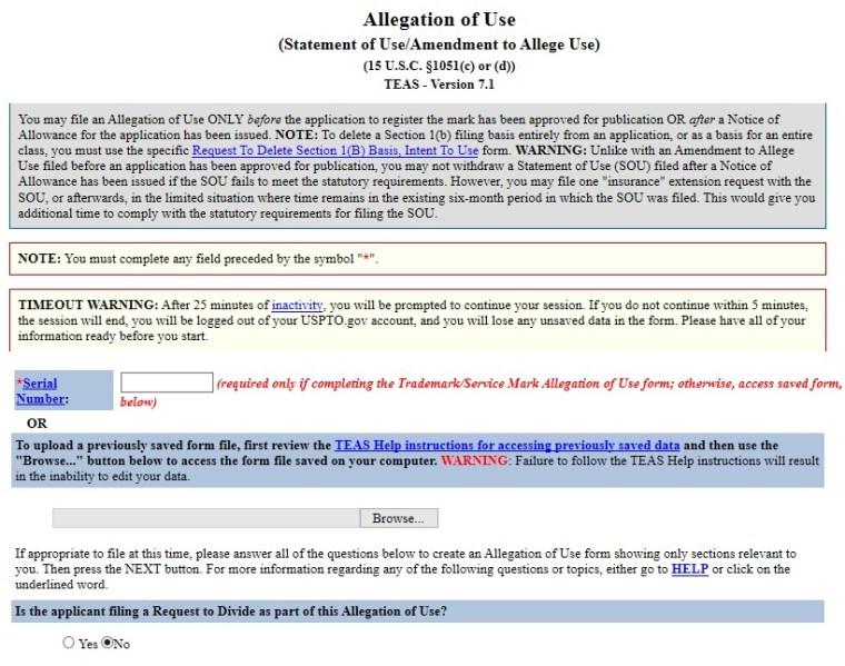 Example Statement of Use - USPTO