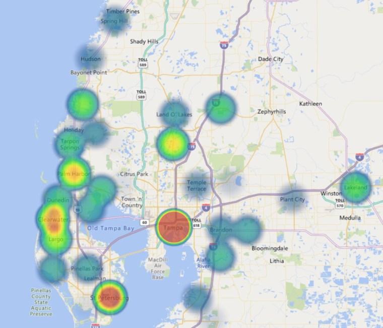 Heatmap of Tampa Bay Inventorship