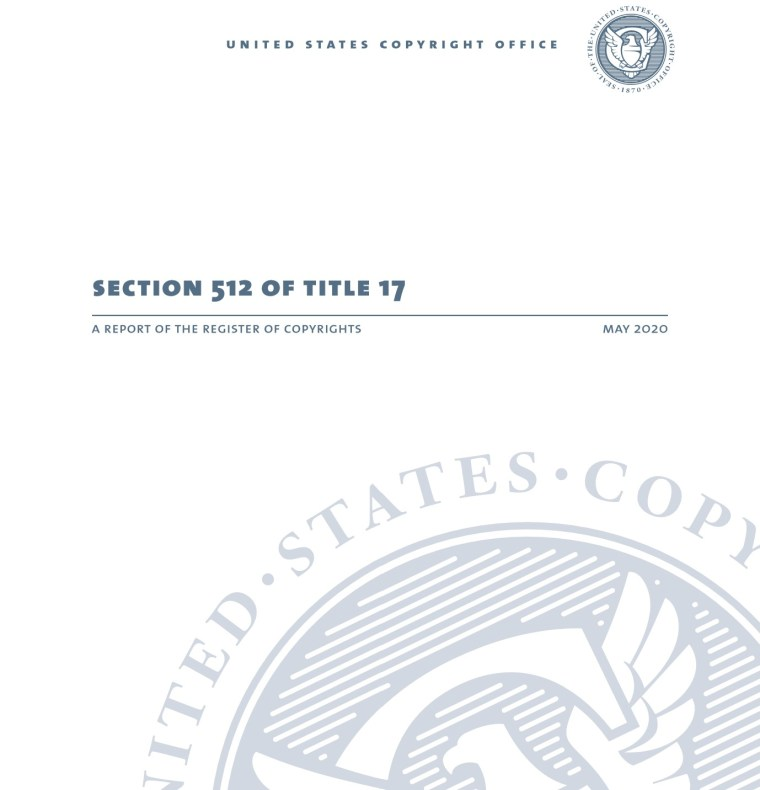 Cover page photo of the Section 512 Report of the DCMA