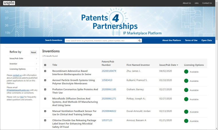 The COVID-19 patent licensing page at the U.S. Patent & Trademark Office