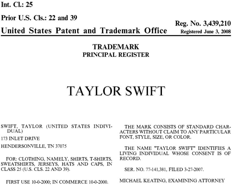 USPTO trademark registration certificate for Taylor Swift