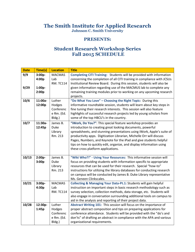 SI Student Research Workshop Sched FALL15 IMAGE