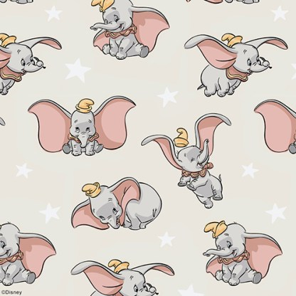Close up of disney dumbo flying and smiling and elated on a blackout kids roller blind fabric