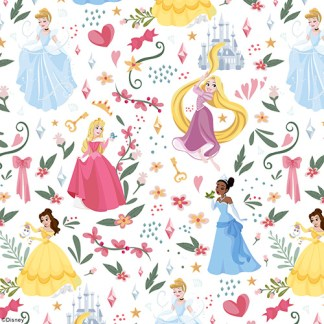 close up image of disney princess roller blind fabric