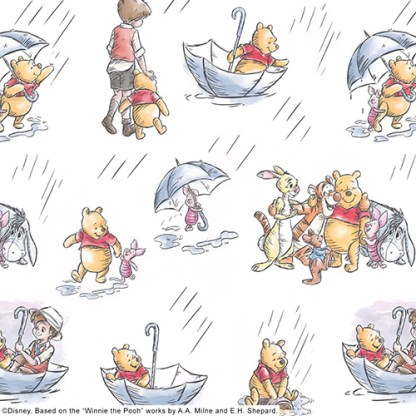 close up of winnie the pooh roller fabric depicting christopher robin holding poohs hand on one close up with pooh in an umbrella on another close up whilst on another all pooh characters are all together