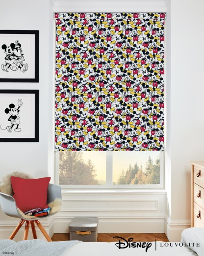 room setting with disney mickey mouse roller blind