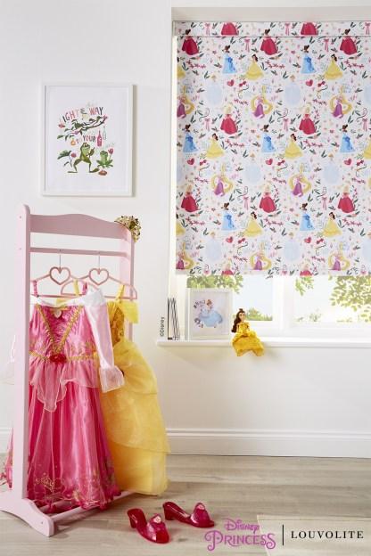 room setting close up of disney princess blind in girls bedroom