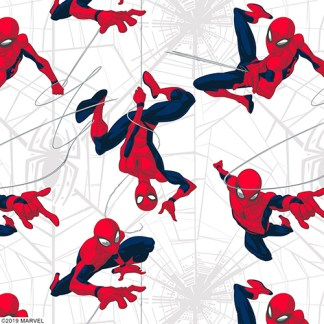 Close up of spiderman roller blind fabric depicting cartoon spiderman on his web