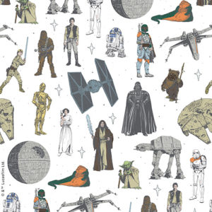 close up of star wars character roller blind inluding many of the main characters