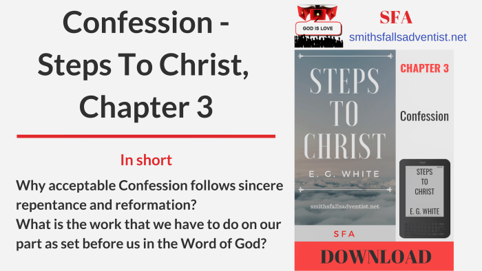 Illustration-Title-Confession -Steps To Christ, Chapter 3-text-logo