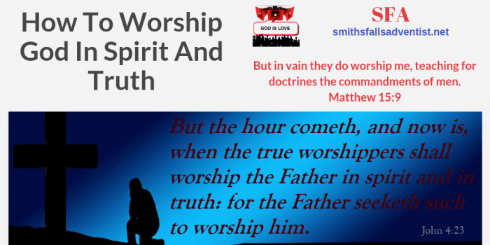 Illustration-Title-How To Worship God In Spirit And Truth-text-logo-Bible verse-cross-kneeling person