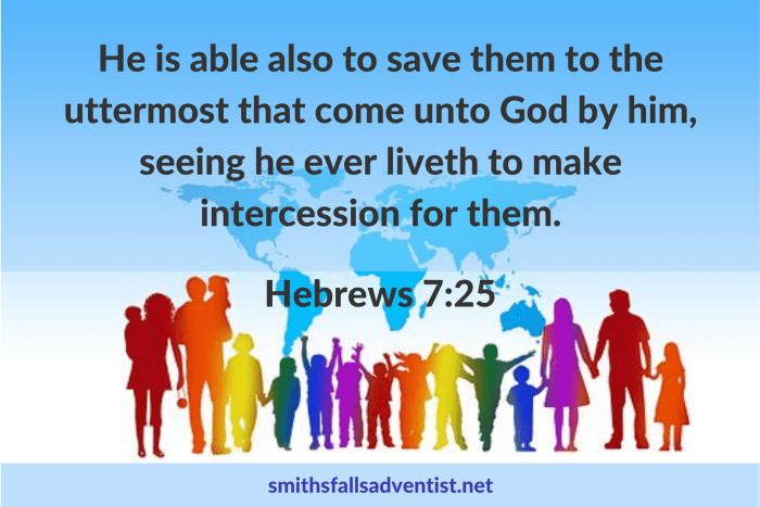 Illustration - Christ's Intercession in Hebrews 7 verse 25 - text - Bible verse - background - crowd