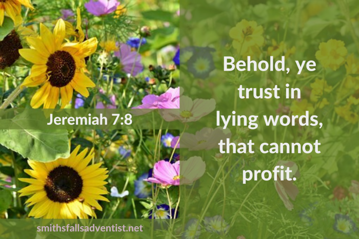 Illustration - Behold Christ's Love in Jeremiah 7 verse 8 - text - Bible verse - background - flowers
