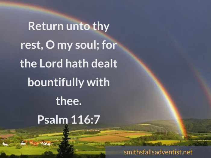 Illustration-background-sky-rainbow-text-Return unto thy rest, Psalm 116 verse 7