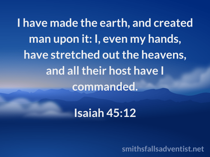 Illustration - sky - clouds - text - Stretched out Heavens - Isaiah 45 verse 12