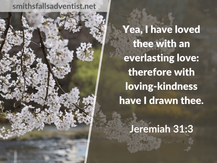 Illustration-landscape-cherry trees-text-I have loved thee in Jeremiah 31verse 3-Bible verse
