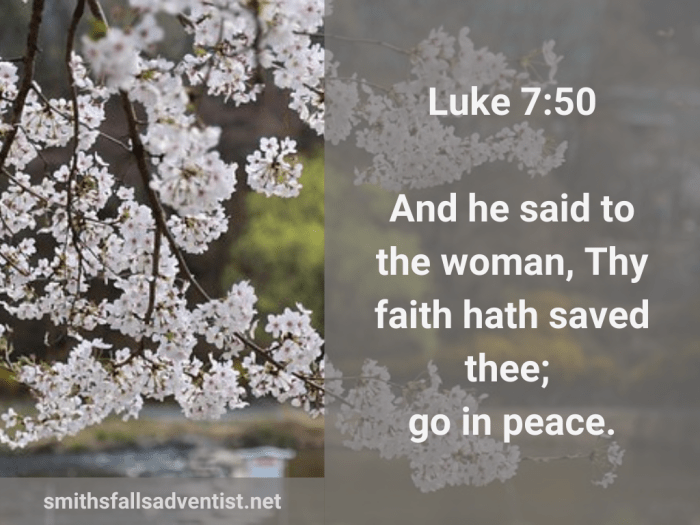 Illustration-background-blossomed cherry trees-title-Go in peace in Luke 7 verse 50-Bible ext